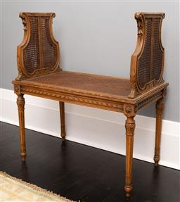 Sale 9248H - Lot 104 - An Antique French double ended cane seat. Width 100cm Depth 45cm Height 100cm