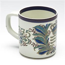 Sale 9253 - Lot 369 - An oversized Royal Copenhagen commemorative soup mug 1775-1975, as found with chip to handle (H:14cm)