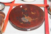 Sale 8024 - Lot 84 - Oriental Lacquer Ware Box Fitted with Hand Painted Dishes