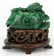 Sale 8096 - Lot 51 - Malachite Carved Container