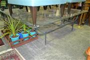 Sale 8227 - Lot 1074 - Large Glass Top Coffee Table on Metal Base