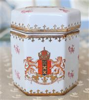Sale 8250 - Lot 51 - A Chinese Porcelain Export Ware Box and Cover, modelled with an hexagonal shaped body, decorated with iron red sprays and gilt highl...