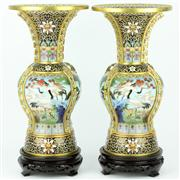 Sale 8273 - Lot 24 - Cloisonne Four Seasons Pair of Vases on Stands
