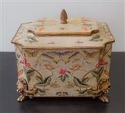 Sale 8310A - Lot 265 - A painted timber boite au neccesaire, with lid and pineapple finial, with lion paw feet, H 21 x W 31cm