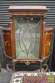 Sale 8335 - Lot 1021 - Good Victorian Sheraton Style Carved & Painted Display Cabinet, with astragal door flanked by columns & two bowed front doors with p...