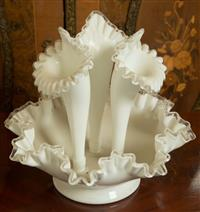 Sale 8392H - Lot 32 - A Victorian white opaque glass handkerchief bowl with three removable trumpet vases, total H 32cm