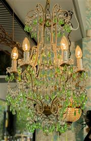 Sale 8448A - Lot 64 - Superb antique Venetian beaded cage 6 branch chandelier featuring highly embellished with its original peridot green pendants and be...