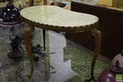 Sale 8542 - Lot 1014 - Marble Top Kidney Shaped Side Table on Brass Base