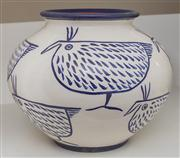 Sale 8595A - Lot 72 - A globular blue and white ceramic vase decorated with chooks, H 22cm