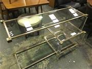 Sale 8643 - Lot 1097 - Acrylic and Metal Framed Square Form Coffee Table and a Matching Hall Table