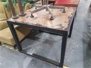 Sale 8717 - Lot 1052 - Square Black Stressed Dining Table (L: 100 W: 100cm)