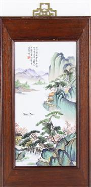 Sale 8909S - Lot 628 - Chinese porcelain panel with polychrome mountain and river scene L42cm