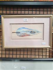 Sale 8932 - Lot 2084 - Pam Kellaher - Mount Laura, Whyalla, SA oil on mallee leaf, 11 x 21cm, signed -