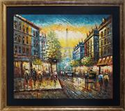 Sale 8969 - Lot 2030 - A Charming Parisian Street Scene Oil Painting by Unknown Artist, 66.5 x 76cm (frame)