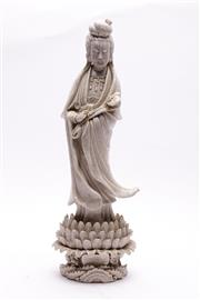 Sale 9032C - Lot 711 - Crackle glazed figure of Guanyin holding a Ruyi (H42.5cm, with chips and repairs)