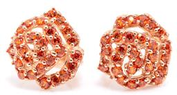 Sale 9145 - Lot 340 - A PAIR OF 14CT ROSE GOLD STONE SET EARRINGS; each a 12mm wide cluster of round cut orange zirconias, wt. 3.18g.