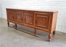 Sale 9134 - Lot 1522 - Fruitwood sideboard with four doors raised on stretcher base (h:100 w:240 d:52cm)