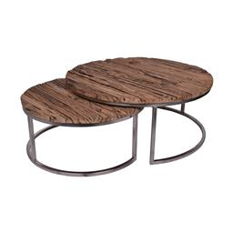 Sale 9162H - Lot 49 - A set of nesting coffee tables, made from recycled railway slipper wood with an iron frame. Height of tallest 40cm