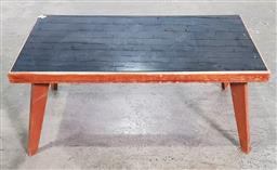 Sale 9183 - Lot 1077 - Vintage timber coffee table with onyx coloured glass top (h42 x w91 x d45cm)