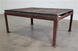 Sale 9188 - Lot 1786 - Industrial style coffee table, the top repurposed from a wool classing table, raised over a wrought iron squared base (h53 x w122 x...