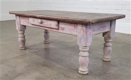 Sale 9218 - Lot 1050 - Painted single drawer coffee table (h:47,5 w:122,5 d:61cm)