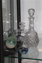 Sale 8160 - Lot 76 - Crystal Decanter with Others Incl Paper Weight