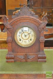 Sale 8267 - Lot 1046 - Late 19th Century Ansonia Oak Mantle Clock, with printed paper dial