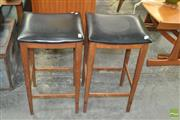 Sale 8275 - Lot 1054 - Pair of Teak Bar Stools with Leather Seats