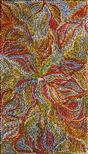 Sale 8301 - Lot 540 - Jeannie Petyarre (c1956 - ) - Bush Yam Leaves 170 x 97cm