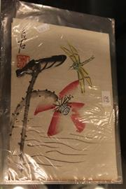 Sale 8306 - Lot 89 - Chinese Signed Painting of a Dragonfly in a Plastic Folder