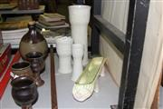 Sale 8384 - Lot 10 - Arabia Floral Vase with 2 Smaller Examples & a Barsoni Flower Trough