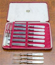 Sale 8402H - Lot 61 - A cased set of Prouds mother of pearl handle fruit knives and forks.