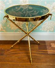Sale 8448A - Lot 65 - Designer style gilt brass side tripod side table featuring round smoky glass top with gilt brass edging and faux bamboo tripod legs...