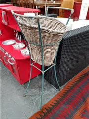 Sale 8676 - Lot 1097 - Retro Step Stool & Wicker Planter in Stand (2)