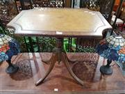 Sale 8697 - Lot 1592 - Tilt Top Wine Table with Tooled Leather Finish