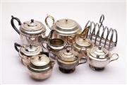 Sale 9032 - Lot 48 - Collection of Silver Plated Wares incl. Toast Rack, Kettles, Dish, etc.