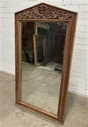 Sale 9063 - Lot 1054 - Timber Framed Mirror with Carved Pelmet (h:130 x w:71cm)