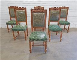Sale 9151 - Lot 1333 - Set of five ornately carved and upholstered dining chairs - some damage - 178 (h112 x w47 x d43cm)