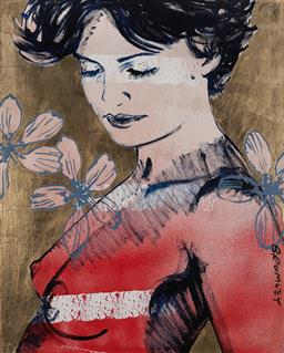 Sale 9161 - Lot 560 - DAVID BROMLEY (1960 - ) Mallory with Flowers acrylic and goldleaf on canvas 152 x 122 cm signed lower right