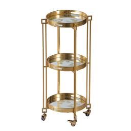 Sale 9162H - Lot 33 - A polished gold metal iron cart with 3 tiers, locking wheels and removable trays.Height 99cm x Width 47cm x Depth 47cm