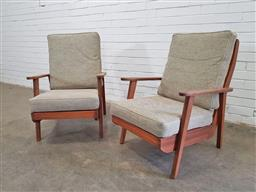 Sale 9171 - Lot 1049 - Pair of vintage timber armchairs (h:83 xw:65cm)
