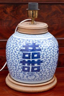 Sale 9190H - Lot 167 - A double happiness blue and white ginger jar lamp base, untested, Height 35cm