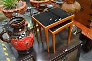 Sale 8054 - Lot 1047 - Pair of Graduated Parker Style Sidetables w Black Glass Tops