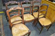 Sale 8093 - Lot 1826 - Set of 5 French Style Elm Chairs With Rush Seats