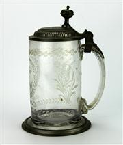 Sale 8130 - Lot 51 - Late 18th or Early 19th Century Glass & Pewter Mounted Stein