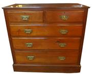 Sale 8258A - Lot 74 - Edwardian Walnut chest of five drawers with original brass handles in good condition, RRP $2,250, W 106 x D 47 x H 101 cm