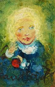 Sale 8526 - Lot 543 - David Boyd (1924 - 2011) - Child with Red Apple 13.5 x 9cm
