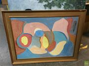 Sale 8648B - Lot 2067 - 2 Works: RM Wendt - Relaxing on a Park Bench, Acrylic on Canvas, SLR & Artist Unknown - Abstract, Oil on Board