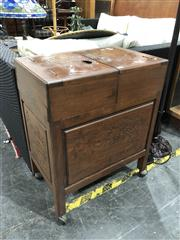 Sale 8697 - Lot 1632 - Oriental Cabinet with Sliding Compartment Top and Fitted Interior