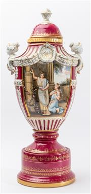 Sale 9083N - Lot 30 - A Large porcelain Sevres style urn  decorated panels with classical ladies in a landscape. Height 63cm